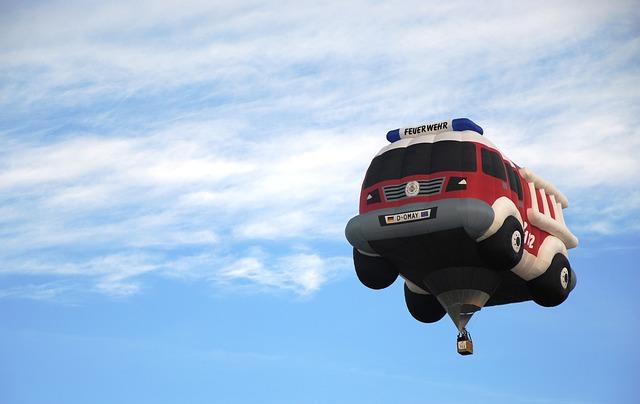 horkovzdušný balón hasiči
