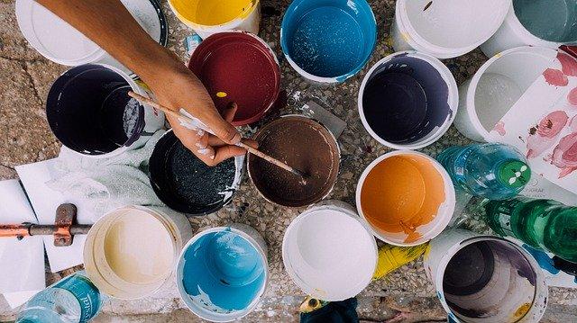 malíř, barvy, plechovky